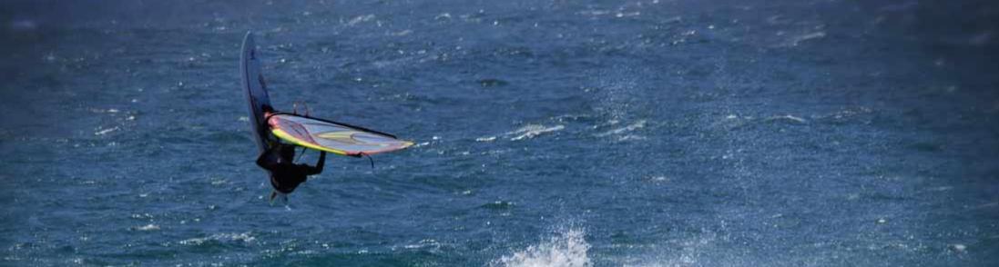 accountant, Brendon Davies windsurfing in geraldton